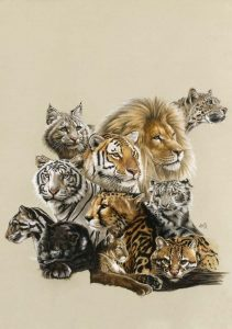 Big Cats Art Print - All In The Family by Barbara Keith