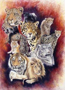 Big Cats Poster - Baker's Dozen by Barbara Keith